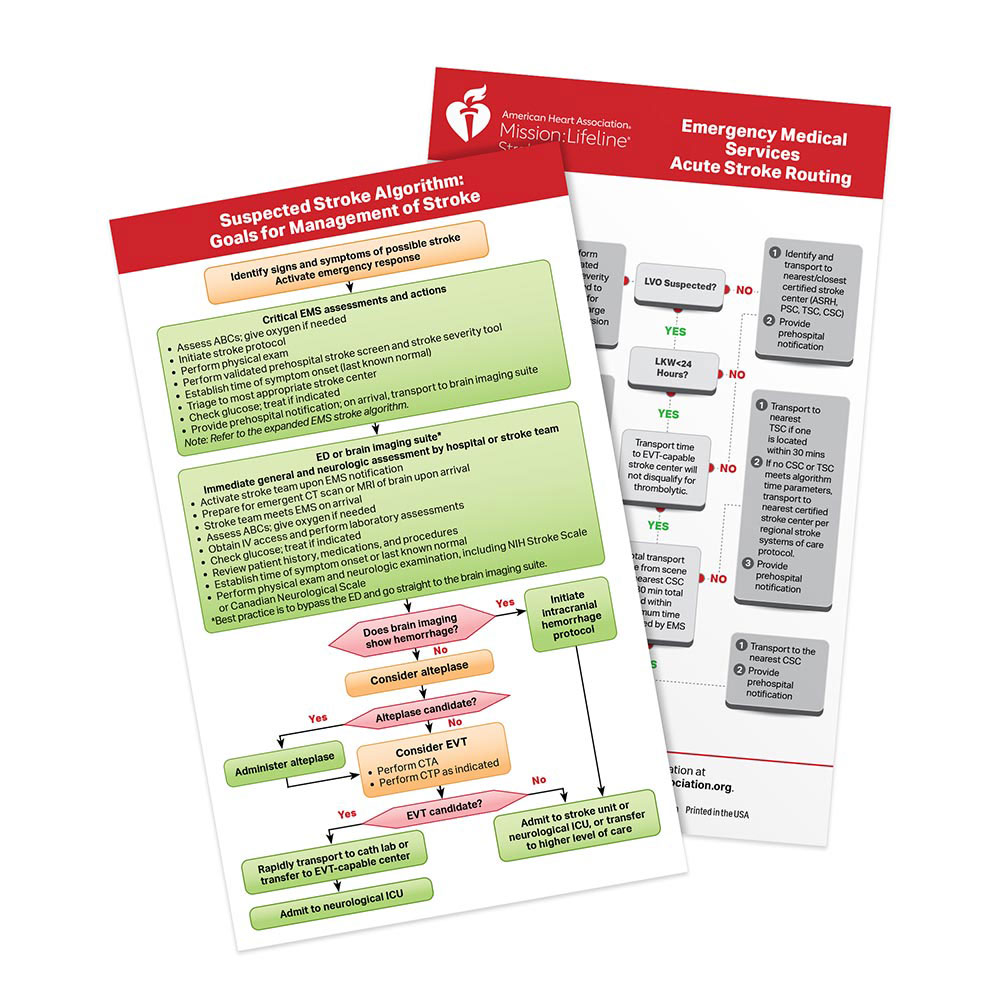AHA 2020 Suspected Stroke Algorithm/EMS Acute Stroke Routing Card - 25/Pack