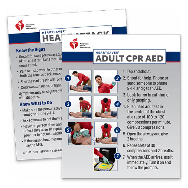 AHA 2020 Heartsaver Adult CPR AED Wallet Card- 100 pk