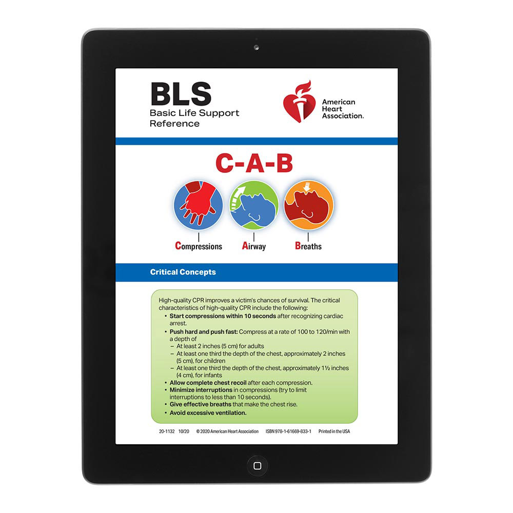 AHA 2020 Basic Life Support (BLS) Digital Reference Card