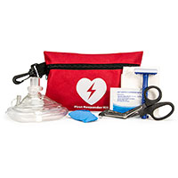 CPR/AED Rescue Kit with CPR Mask in Red Nylon Pouch