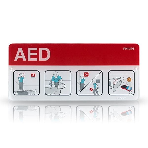 Philips AED Awareness Placard - Red