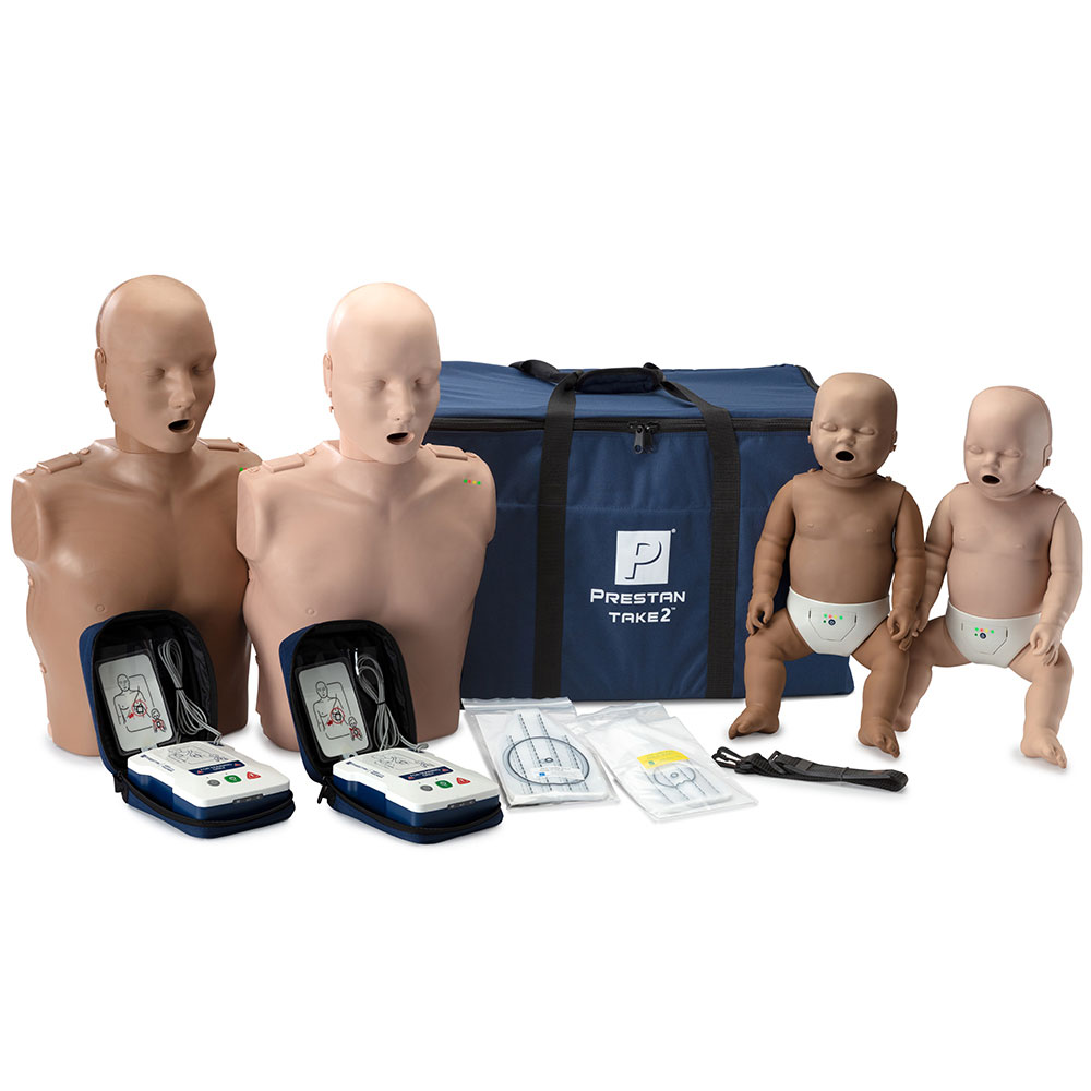 PRESTAN® TAKE2 Diversity Kit Manikins w/CPR Monitors and AED Trainers Package