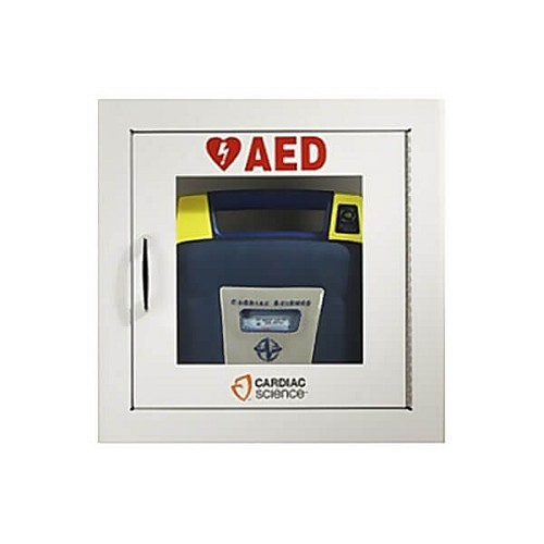 Cardiac Science AED Wall Cabinet - Semi Recessed w/ Audible Alarm at heartsmart.com