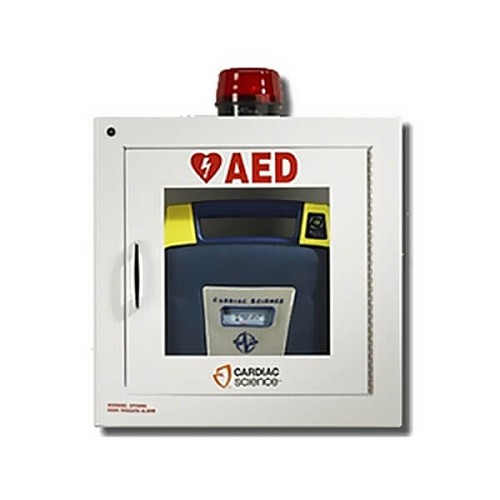 Cardiac Science AED Wall Cabinet - Fully Recessed w/ Audible Alarm & Strobe at heartsmart.com