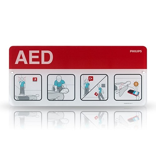 Philips AED Awareness Placard - Red at heartsmart.com