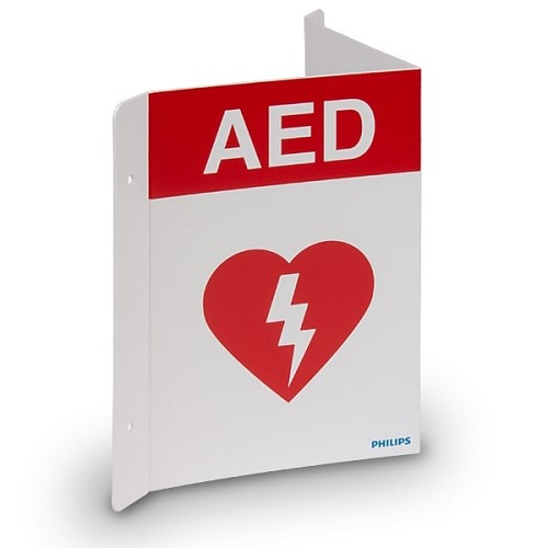 Philips AED Wall Sign - Red at heartsmart.com