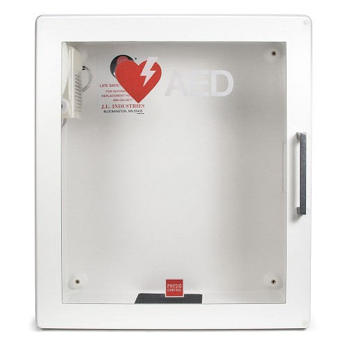 Physio-Control LIFEPAK® CR2 AED Surface Mount Cabinet w/Audible Alarm at heartsmart.com