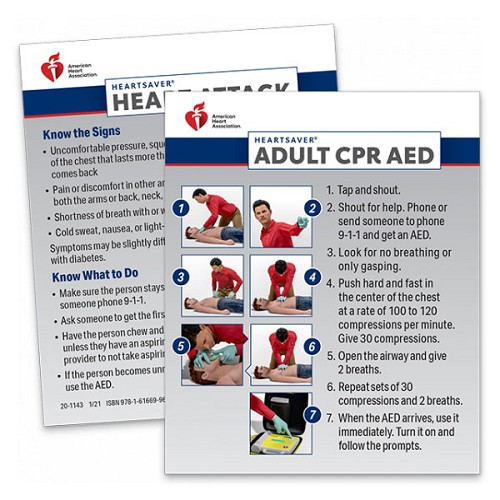 AHA 2020 Heartsaver Adult CPR AED Wallet Card- 100 pk at heartsmart.com