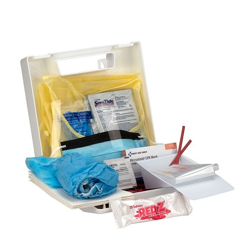 25 Piece Bloodborne Pathogen/Personal Protection Kit w/Microshield® CPR Face Shield by First Aid Only  at heartsmart.com
