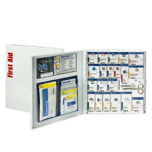 Smart Compliance ANSI A+ Kit w/Medications in Large Metal Cabinet by First Aid Only at heartsmart.com